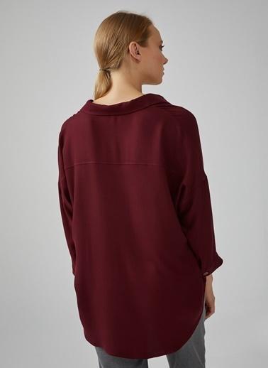 Gusto Kadın Bordo Önü Patlı Cepli Rahat Kesim V Bluz 20KG009545 Bordo